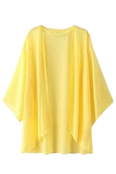 Womens Casual Plain Batwing Sleeve Chiffon Cover Up Yellow
