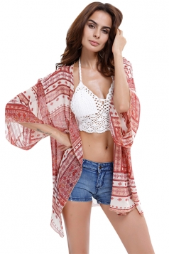 Womens Chiffon Geometric Printed Batwing Sleeve Cover-up Pink