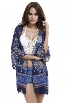 Womens Chiffon Flower Printed Batwing Sleeve Cover-up Navy Blue