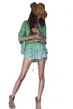 Womens Geometric Printed Batwing Sleeve Chiffon Cover-up Green