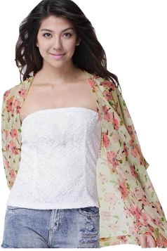 Womens Chic Chiffon Flower Printed Long Sleeve Kimono Pink