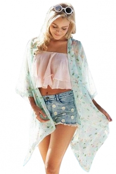 Womens Chic Chiffon Flower Printed Long Sleeve Kimono Turquoise