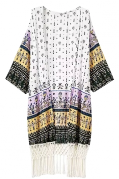 Womens Chic Exotic Printed Long Sleeve Fringed Kimono Pink