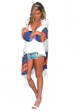 Womens Chic Exotic Printed Long Sleeve Fringed Kimono Navy Blue