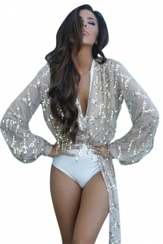 Womens Sexy Sequined Long Sleeve Mesh Sheer Top Silvery