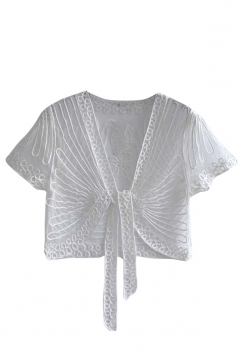 Womens Chic Lace Patchwork Short Sleeve Lace Up Sheer Top White