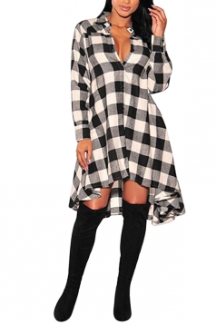 Womens Chic Plaid Irregular Hem Long Sleeve Shirt Dress Black