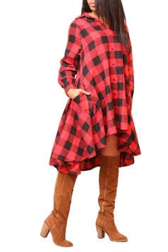 Womens Chic Plaid Irregular Hem Long Sleeve Shirt Dress Red