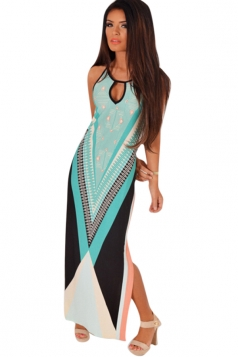 Womens Slimming Halter Exotic Printed Sleeveless Maxi Dress Turquoise