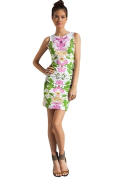Womens Sexy Slimming Floral Printed Tank Dress Pink
