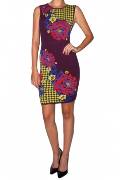 Womens Sexy Slimming Floral Printed Tank Dress Purple