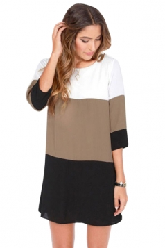 Womens Casual Color Blocking Half Sleeve Shift Dress Black
