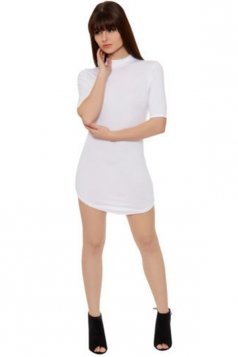 Womens Sexy Plain Stand Collar Half Sleeve Bodycon Dress White