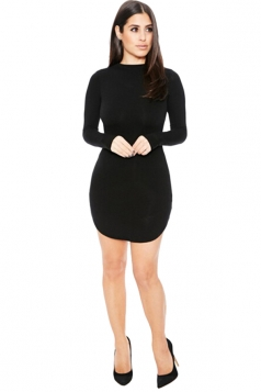 Womens Sexy Plain Round Neck Long Sleeve Bodycon Dress Black