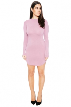 Womens Sexy Plain Round Neck Long Sleeve Bodycon Dress Pink