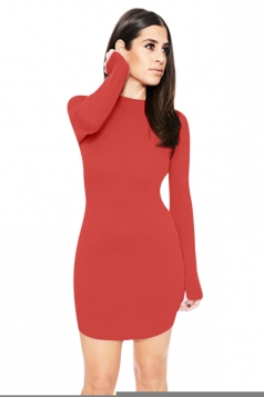 Womens Sexy Plain Round Neck Long Sleeve Bodycon Dress Red