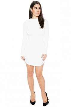 Womens Sexy Plain Round Neck Long Sleeve Bodycon Dress White