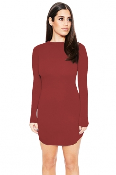 Womens Sexy Plain Round Neck Long Sleeve Bodycon Dress Ruby