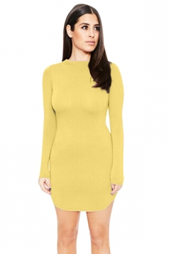 Womens Sexy Plain Round Neck Long Sleeve Bodycon Dress Yellow