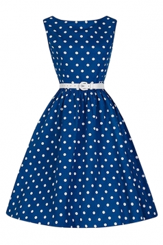 Womens Elegant Polka Dot Sleeveless Belt Midi Dress Beige Blue