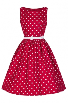Womens Elegant Polka Dot Sleeveless Belt Midi Dress Beige Red