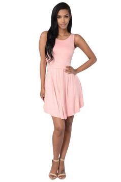 Womens Sexy Plain Sleeveless Backless Skater Dress Pink