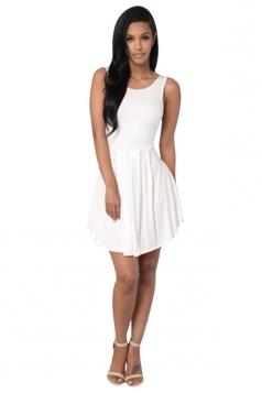 Womens Sexy Plain Sleeveless Backless Skater Dress White