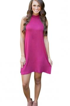 Womens Casual Plain Sleeveless Smock Dress Purple