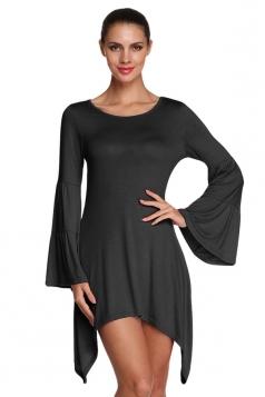 Womens Plain Flare Long Sleeve Irregular Hem Dress Black