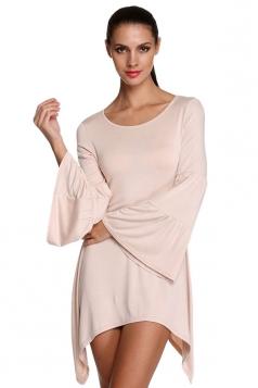 Womens Plain Flare Long Sleeve Irregular Hem Dress Beige White