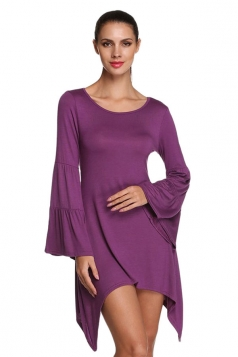 Womens Plain Flare Long Sleeve Irregular Hem Dress Purple