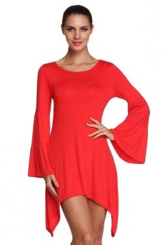 Womens Plain Flare Long Sleeve Irregular Hem Dress Red