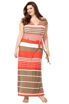Womens Plus Size Striped Printed Short Sleeve Maxi Dress Orange