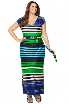 Womens Plus Size Striped Printed Short Sleeve Maxi Dress Green