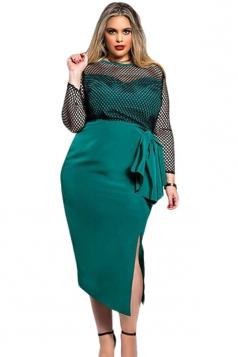 Womens Sexy Plus Size Fishnet Side Slit Midi Dress Green