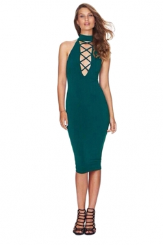 Womens Sexy Halter Sleeveless Cross Bandage Front Bodycon Dress Green