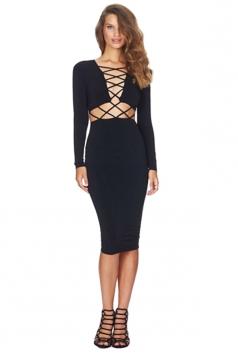 Womens Sexy Long Sleeve Cross Bandage Front Clubwear Dress Black