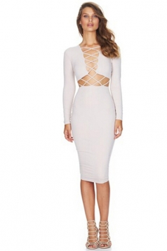 Womens Sexy Long Sleeve Cross Bandage Front Clubwear Dress White
