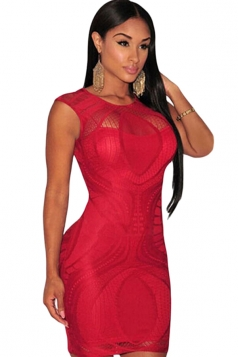 Womens Sexy Lace Sheer Sleeveless Bodycon Dress Red