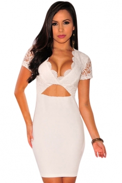 Womens Sexy Plunging Neck Lace Splicing Bodycon Dress White
