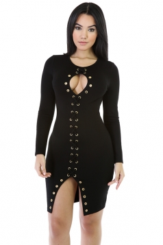 Womens Sexy Lace Up Long Sleeve Bodycon Clubwear Dress Black