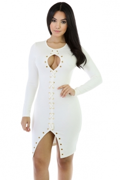 Womens Sexy Lace Up Long Sleeve Bodycon Clubwear Dress White