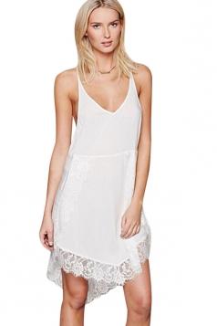 Womens Sexy Lace Splicing Spaghetti Straps Smock Dress White