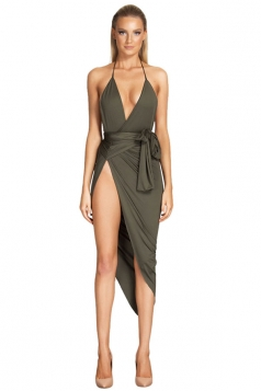 Womens Sexy Halter Deep V Neck Irregular Slit Bodycon Dress Army Green