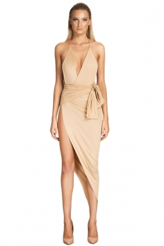 Womens Halter Deep V Neck Irregular Slit Bodycon Dress Beige White