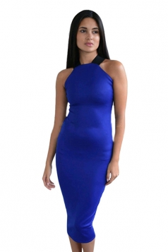 Womens Sexy Off the Shoulder Cross Bandage Bodycon Dress Blue