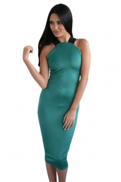 Womens Sexy Off the Shoulder Cross Bandage Bodycon Dress Green