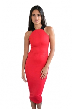 Womens Sexy Off the Shoulder Cross Bandage Bodycon Dress Red