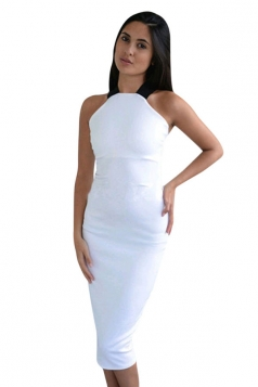 Womens Sexy Off the Shoulder Cross Bandage Bodycon Dress White
