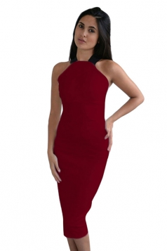 Womens Sexy Off the Shoulder Cross Bandage Bodycon Dress Ruby